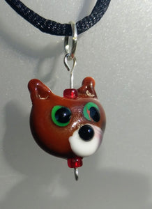 Lampwork Brown Cat Head