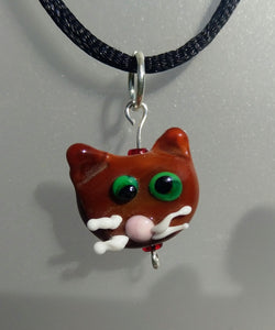 Lampwork Brown Cat Head with Whiskers