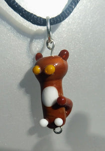 Lampwork Brown Cat with Yellow Eyes