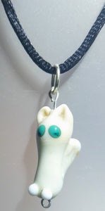 Lampwork Glass Cream Cat Pendant