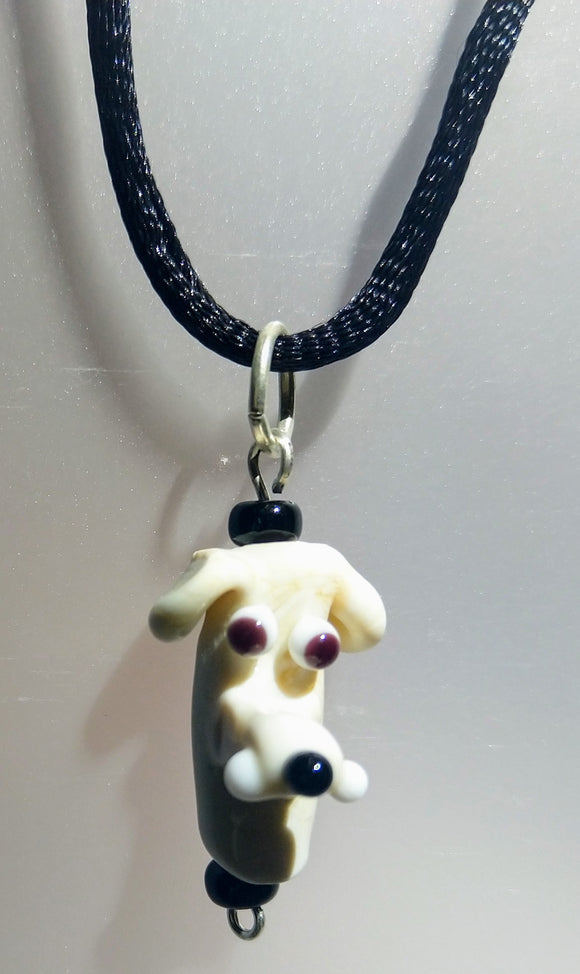 Lampwork Glass Cream Dog Pendant