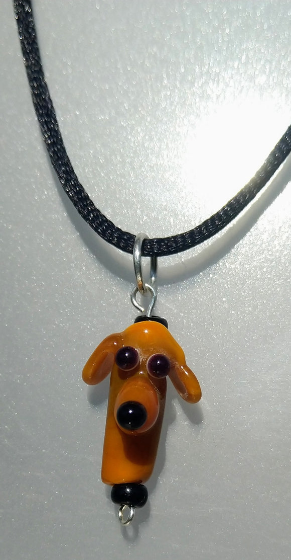 Dark Yellow (Ochre) Lampwork Dog