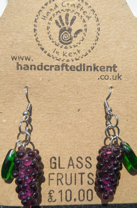 Glass Grape Earrings