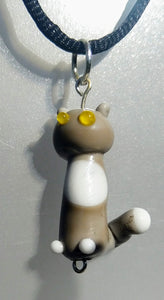 Lampwork Grey Cat with Yellow Eyes