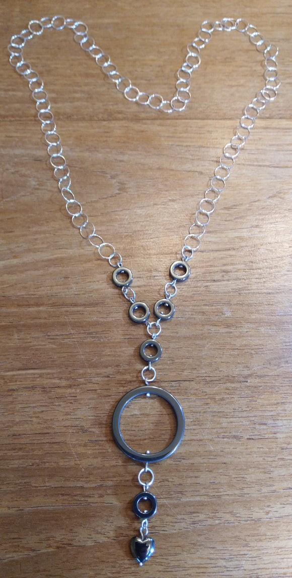 Sterling Silver, Hematite Rings, Long silver chain