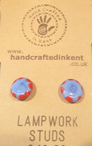 Cloudy Blue and Red Lampwork Studs
