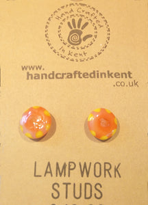 Orange and Yellow Lampwork Studs