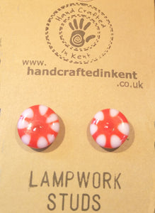 Red and White Lampwork Studs