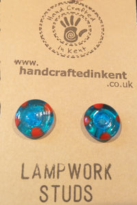 Transparent Blue and Red Lampwork Studs