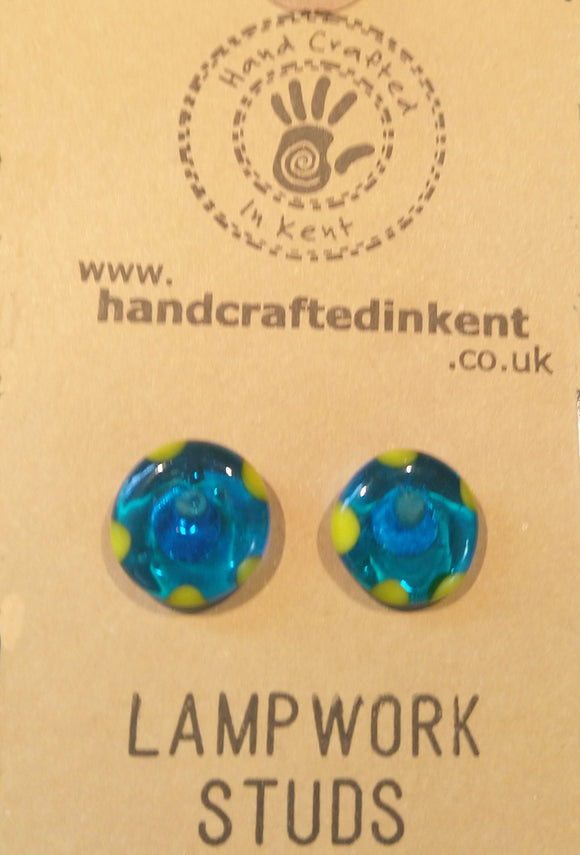 Transparent Blue and Yellow Lampwork Studs