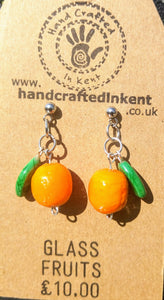 Glass Orange Earrings (opaque leaves)