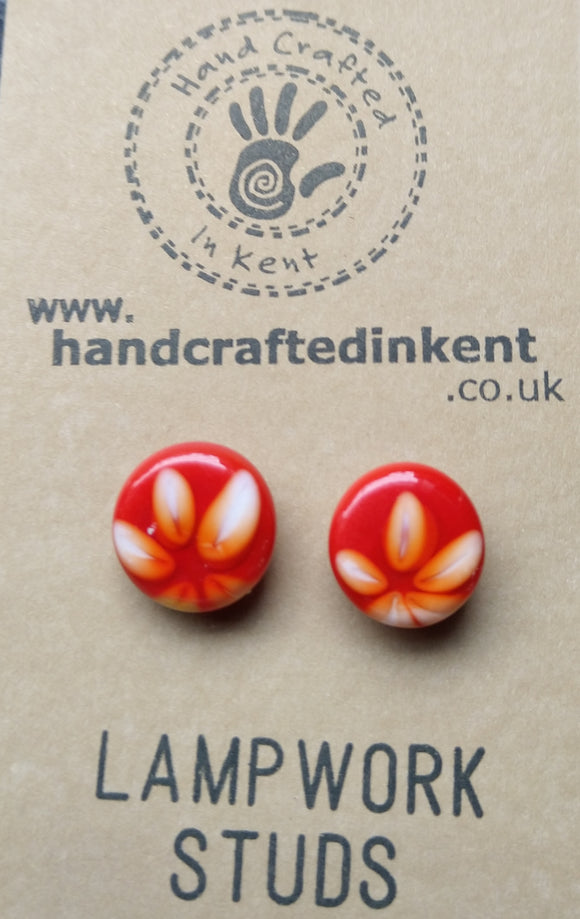 Orangey Red with White Flower Studs