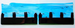 Fused glass skyline