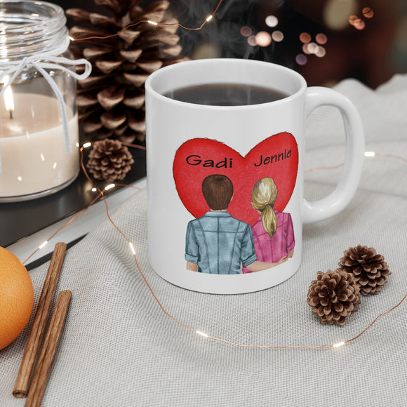Valentine Personalized Couples 11 oz Ceramic Mug, Love Quote Gift Idea