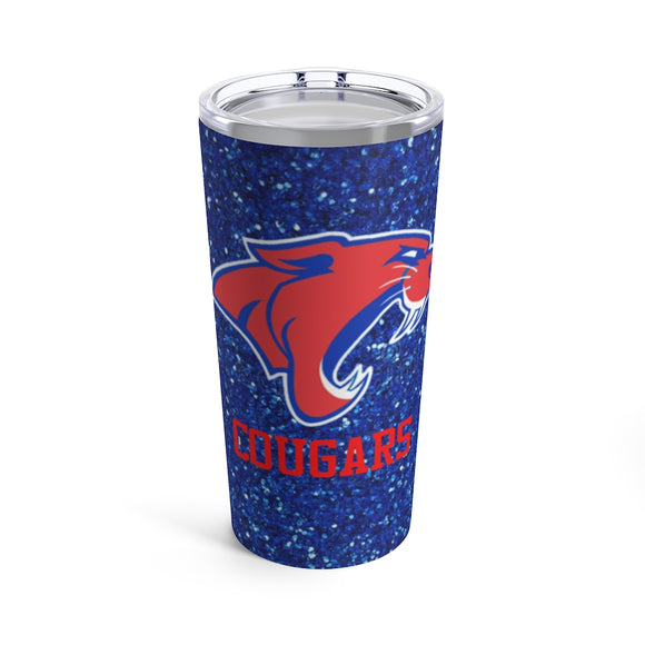 Soar around school or work with this beautiful glitter Cougars tumbler perfect for showing your school pride.  Tumbler has a blue glitter background with an eagle spreading it's wings in the center.  Below graphic is the word