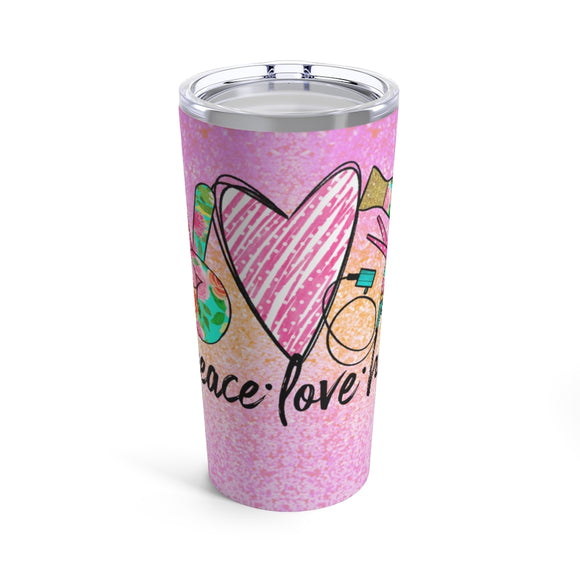 Whether you are a hairstylist or have the best hair dresser in the world, this tumbler or mug is the perfect gift for the hair lover in your life.  With a sparkly pink and orange background, this design reads