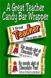 A Great Teacher can't live on apples alone...she needs alot of chocolate too!   Give your favorite teacher a yummy candy bar with this candy bar wrapper as a thank you gift for teacher appreciation week or at the end of school.  Available in both male and female, you'll be your teacher's favorite student with this cute teacher gift. #teachergift #teacherthankyou #teacherappreciationgift #candybarwrapper