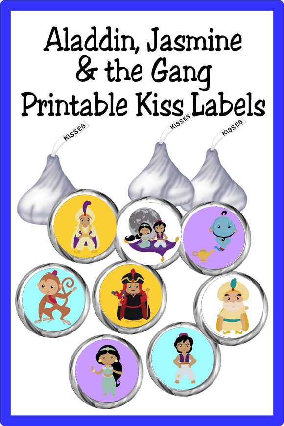 Bring all the characters in this beloved fairy tale to life with these Aladdin Kiss printable labels. These printable Kiss lables are the perfect addition to any Aladdin party. #aladdinparty #jasmineparty #kisslabels