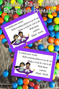 It's a whole new world so go and enjoy the fun at your Aladdin party or your Princess party. #aladdinparty #aladdinpartyfavor #bagtopperprintable