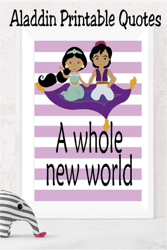 Decorate your Aladdin room or at your Jasmine party with these printable Aladdin quotes from the Disney cartoon movies.  24 of your favorite quotes can be printed and framed as party decoration or home decor.  Color scheme has a blue and purple color with black writing.  Some graphics have clip art to enhance. #aladdinparty #jasmineparty #homedecor #quoteprintable