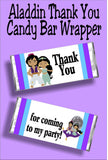 Thank your guests for coming to your Aladdin party or Jasmine party with this fun candy bar wrapper party favor. #aladdinparty #jasmineparty #candybarwrapper