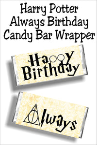 Have a Harry Potter fan on your birthday list this year? Wish them a Happy Birthday with this candy bar wrapper that's both a card and a gift in one! Simply print out this candy bar wrapper and give as a Harry Potter birthday card. #harrypotterbirthday #potterbirthdaycard #candybarwrapper