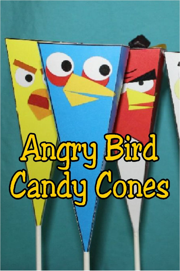 Give a unique party favor or have a fun treat at your Angry Birds party with these printable candy cones. Cones come together simply with cardstock, sucker sticks, scissors, and glue.