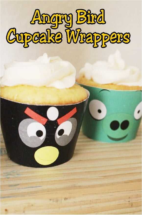 Enjoy some Angry bird cupcakes at your next birthday party with these simple but fun printable cupcake wrappers. These cupcake printable wrappers take boring cupcakes from boring to amazing.