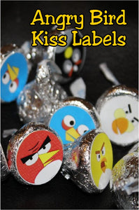 Invite theses chocolate Angry Birds to your birthday party. These chocolate kiss printable labels are perfect as a party treat or party favor for an Angry Birds party anytime.