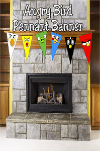 Throw a fun Angry Bird party or movie viewing party with this easy printable pennant banner. You can personalize in any way with several of the bird colors, character pennants, and more. So easy and so cute!