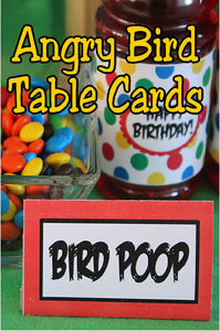Turn your dessert table into a fun and festive Angry Bird dessert table with these easy and free Angry Bird table cards. You can use them to rename your food into fun party treats or as place card settings for each of your guests. It's simple, fun, and a way to turn a good party into a great party.