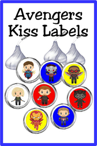 Save the day with these super kiss labels featuring your favorite heroes.  Enjoy a sweet treat at your Avengers party or while enjoying movie night. This printable Avengers Kiss lables are the perfect addition to any super hero party.