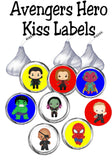 Save the day with these super kiss labels featuring your favorite heroes.  Enjoy a sweet treat at your Avengers party or while enjoying movie night. This printable Avengers Kiss lables are the perfect addition to any super hero party. #avengers #kisslabels