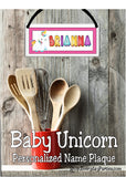 Baby Unicorn Personalized Name Plaque
