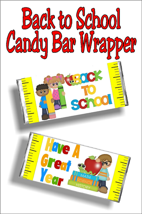 Back to School Candy Bar Wrapper Printable