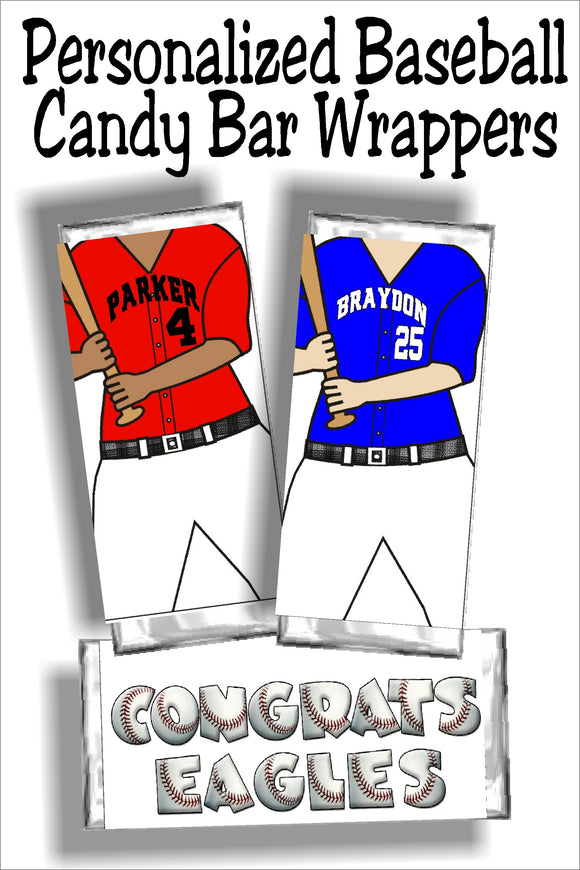 Baseball Personalized Candy Bar Wrapper