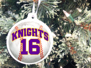 Celebrate your favorite sport with this sports personalized Christmas ornament.  This is the perfect Christmas gift for the sports player in your life.  It can be personalized with any sport, team name, number, and team colors as well as a personalized picture of your player on the back!  #sportschristmasornament #personalizedchristmasornament