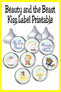 Belle, Beast and the gang are coming to your Beauty and the Beast party. These beautiful kiss labels are the perfect party printable for your dessert table or party favors.