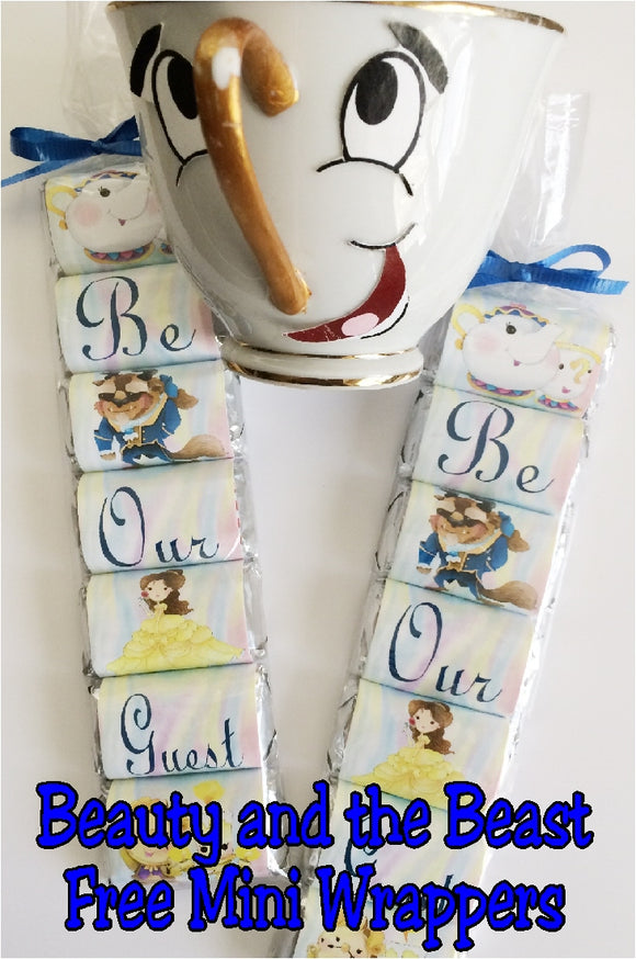 Be Our Guest with these yummy Beauty and the Beast mini wrappers. These are a free printable from us to you, so enjoy a little bit of Belle, Chip, Lumiere, Cogsworth and Mrs Potts today.
