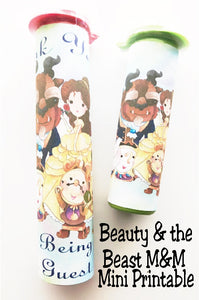 Print out some fun for your Beauty and the Beast party favors. These printable candy labels cover regular and large sized M&M candy tubes and are a beautiful addition to your birthday party.