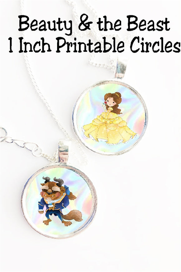 Beauty and the Beast Printable Circles