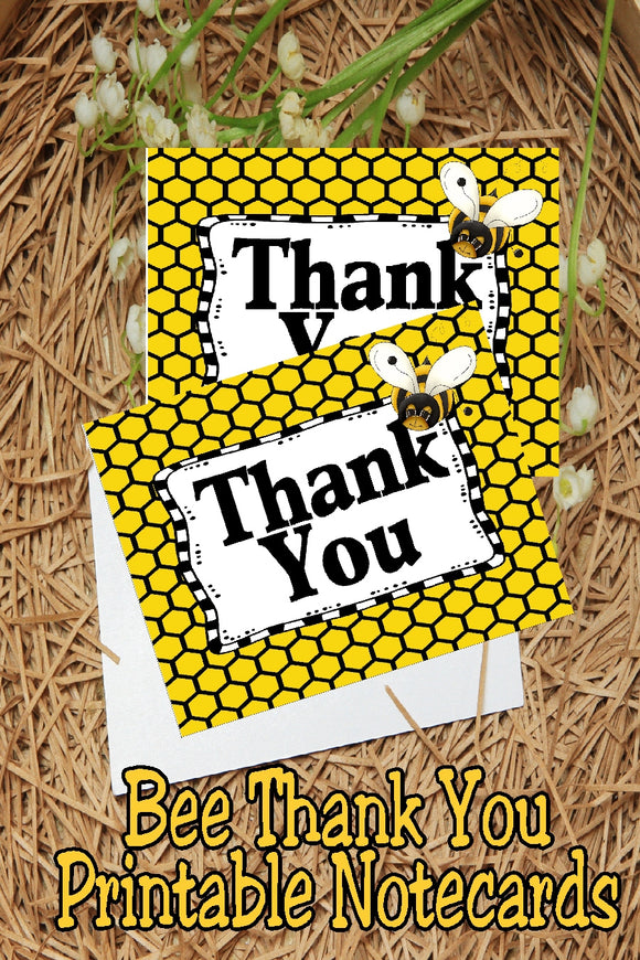 Send a little bee with a thank you note to everyone who came to your Bumble Bee themed party or just send a special note to a friend with these printable Bee Thank You notecards.