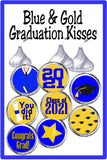 Blue Graduation Kiss Label Printable