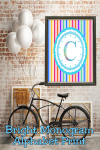 Decorate your home, office, or bedroom with this bright monogram C print. Print has a great spring feel and would be perfect for Easter decor or as a beautiful party decoration.