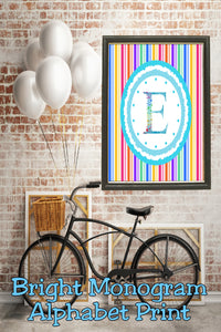 Decorate your home, office, or bedroom with this bright monogram E print. Print has a great spring feel and would be perfect for Easter decor or as a beautiful party decoration.