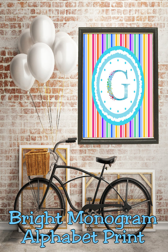 Decorate your home, office, or bedroom with this bright monogram G print. Print has a great spring feel and would be perfect for Easter decor or as a beautiful party decoration.