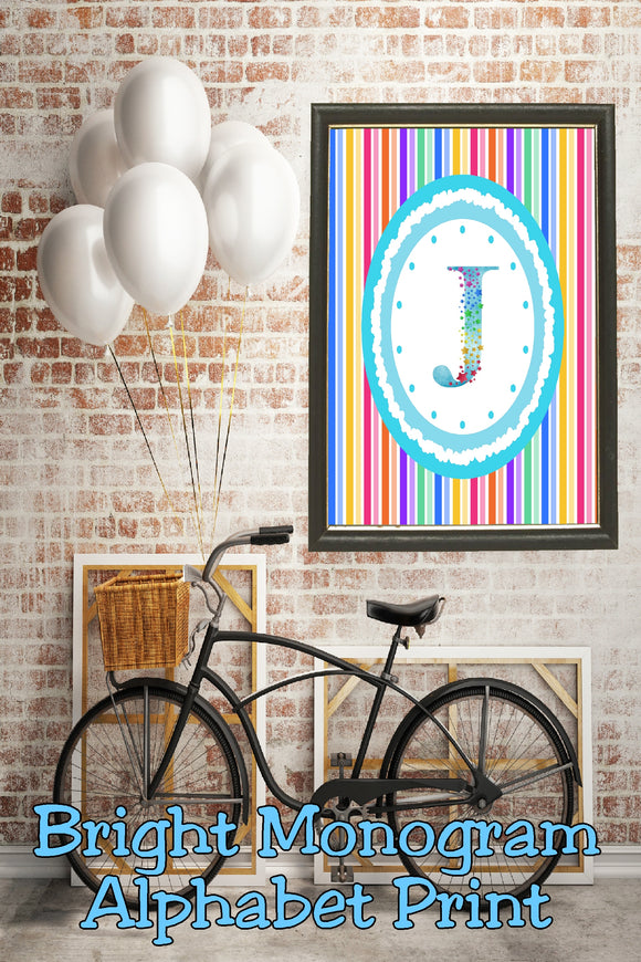 Decorate your home, office, or bedroom with this bright monogram J print. Print has a great spring feel and would be perfect for Easter decor or as a beautiful party decoration.