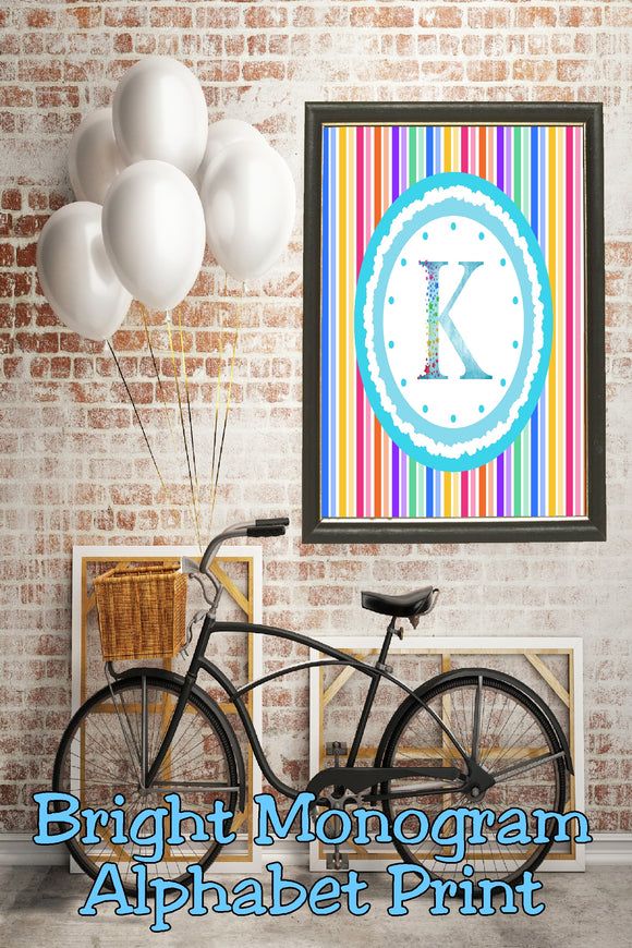 Decorate your home, office, or bedroom with this bright monogram K print. Print has a great spring feel and would be perfect for Easter decor or as a beautiful party decoration.