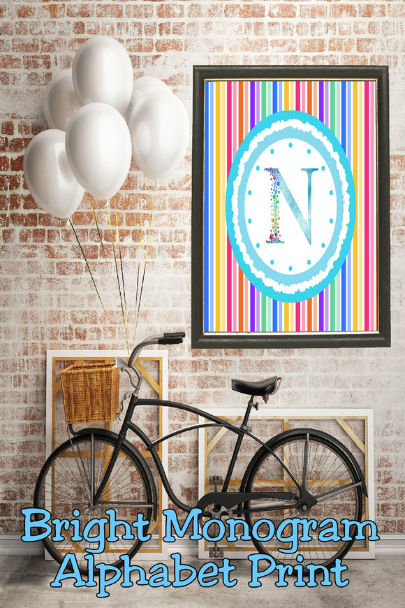 Decorate your home, office, or bedroom with this bright monogram N print. Print has a great spring feel and would be perfect for Easter decor or as a beautiful party decoration.