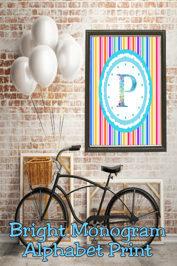 Decorate your home, office, or bedroom with this bright monogram P print. Print has a great spring feel and would be perfect for Easter decor or as a beautiful party decoration.
